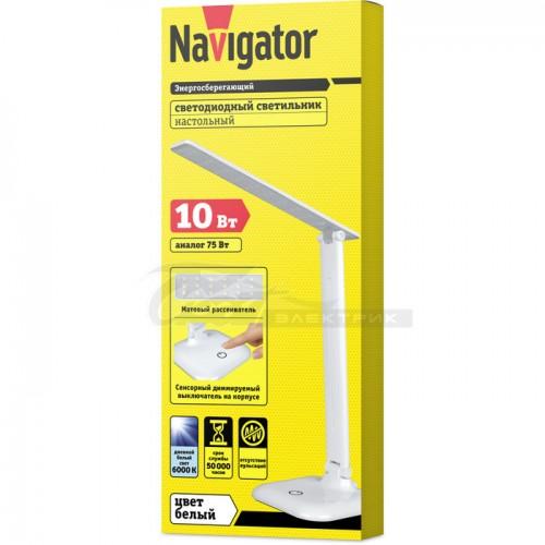 Светильник настольный NDF-D015 белый LED 10w 6000K на основании, рег. яркости Navigator