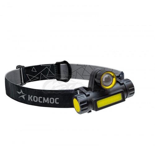 Фонарь налобный Космос H103WL XPE COB LED 3Вт + 3Вт, zoom, Li-ion 1200мАч USB